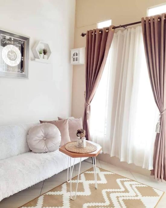Desain interior rumah mungil type 45 bertema krem coklat
