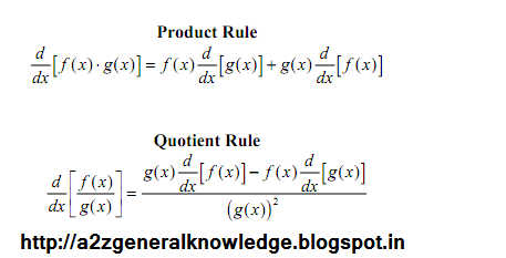 differentiation formulas inverse rule function quotient gk