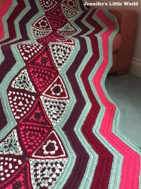 The Patons Wool DK Afghan Blanket completed