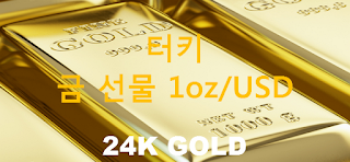 오늘 터키 금 선물 시세 : 24K 순금 1 온스 (1oz) 달러 시세 실시간 그래프 (1oz/USD 달러, BIST 이스탄불 증권거래소)