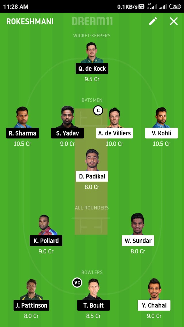 RCB vs MI dream 11 prediction and tips
