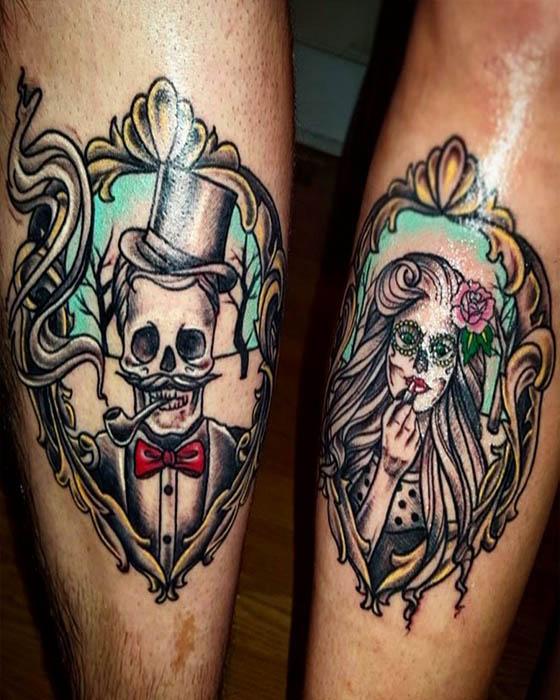 Tatuaje de pareja catrina