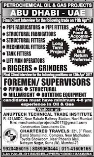 Petrochemical Oil & Gas Project jobs Abu Dhabi