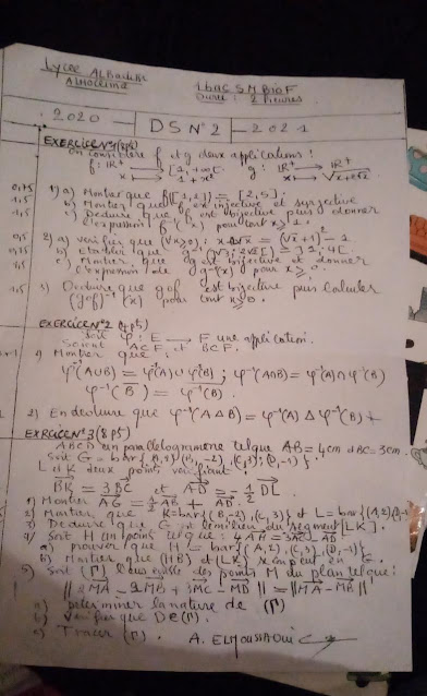 devoir 2 mathématique science math 1bac BIOF