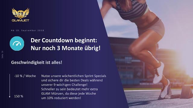 GlamJet ICO Token Coins Münzen - Countdown