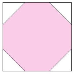 A área da fi gura destacada em rosa é 28 cm², e seus vértices dividem os lados