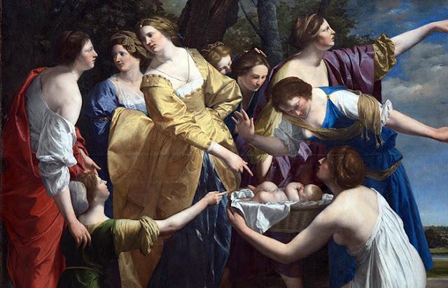 """Pintura """"A descoberta de Moisés"""" de Orazio Gentileschi"""