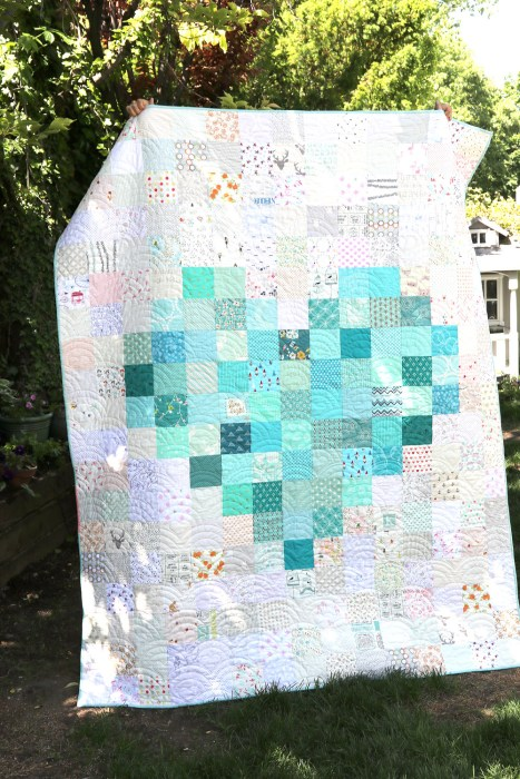 Pixelated Heart Patchwork Quilt from Diary of a Quilter