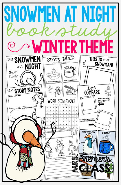 Snowmen at Night book study companion activities. Perfect for a winter theme in the classroom! Packed with fun ideas and guided reading literacy activities. Common Core aligned. K-2. #snowmenatnight #snowmen #snowman #winter #bookstudy #bookstudies #literacy #guidedreading #1stgrade #2ndgrade #kindergarten #bookcompanion #bookcompanions #1stgradereading #2ndgradereading #kindergartenreading #picturebookactivities #winterbooks