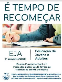 Educação de Jovens e Adultos (EJA) da Ilha com inscrições abertas