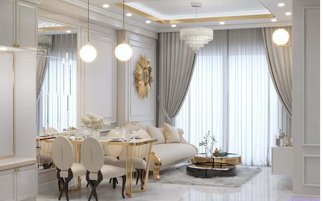 Nội thất phòng khách tân cổ điển kèm model 3d free