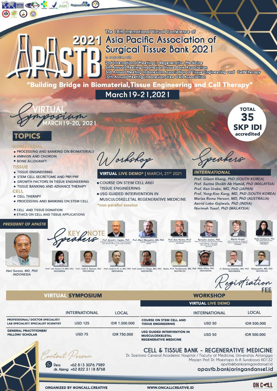 The 18th International Conference Of Asia Pacific Association Surgical Tissue Bank Apastb Building Bridge In Biomaterial Tissue Engineering And Cell Therapy 2021