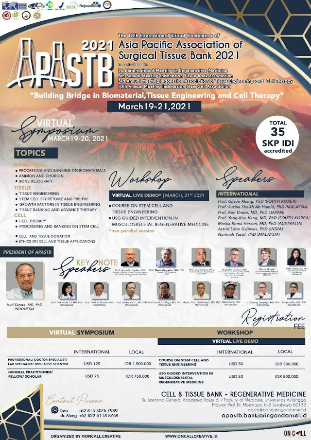 """The 18th International Conference of Asia Pacific Association Surgical Tissue Bank (APASTB) """"Building Bridge in Biomaterial, Tissue Engineering and Cell Therapy""""  2021"""