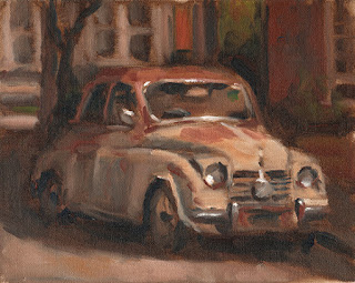 Oil painting of a rusty 1950s car in a suburban street.
