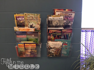 Clear hanging wall files can help you display picture books or other thin books.