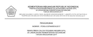 Penerimaan CPNS Terbaru Kementrian Keuangan 2017