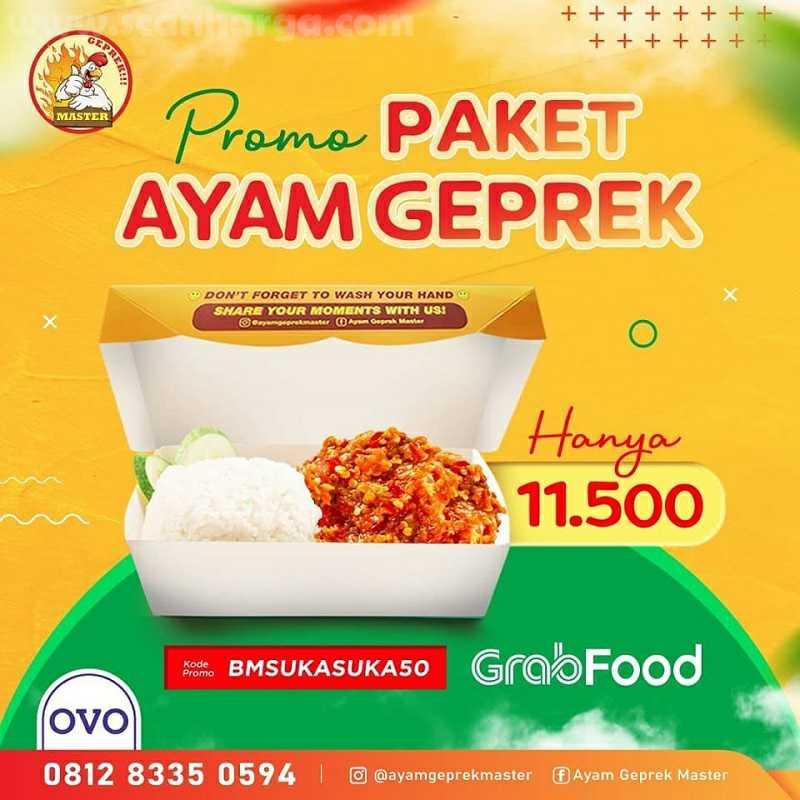 Ayam Geprek Master Promo Diskon 50% Pembayaran Dengan OVO dan Pesan Via Grabfood