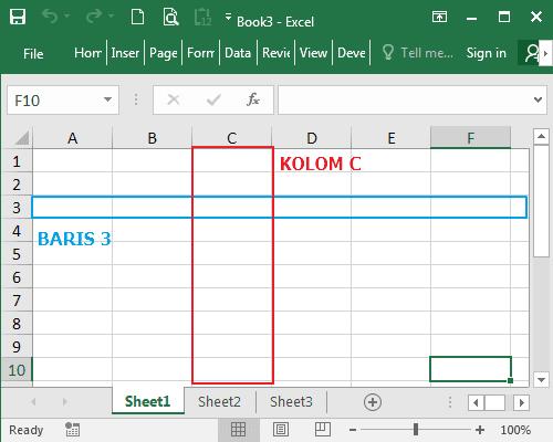 Kolom dan Baris Pada Microsoft Excel