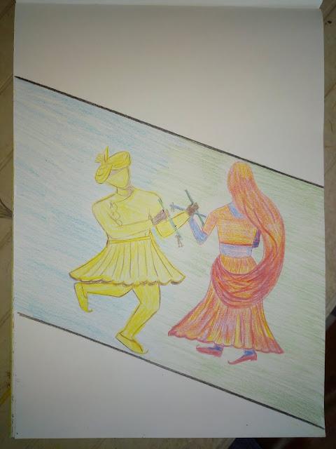 Drawing image of Indian folk dace Dandiya.