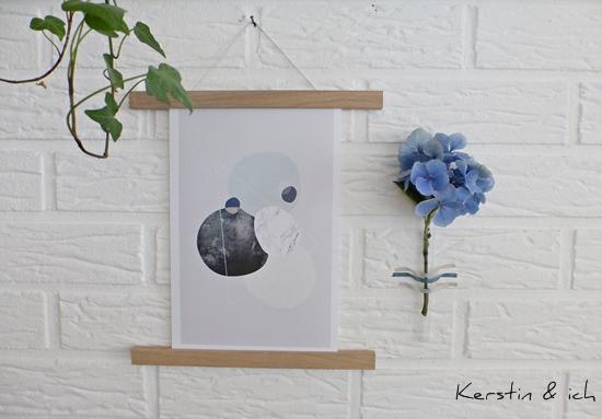 Dekoration mit Hortensie und Graphic Print