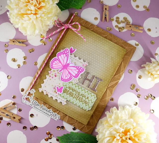 Butterfly Hello Card by Ellen Haxelmans | Monarchs Stamp Set, Essential Alphabet and Framework Die Set by Newton's Nook Designs #newtonsnook #handmade