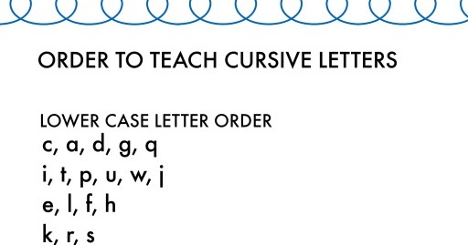Order To Teach Capital Cursive Letters