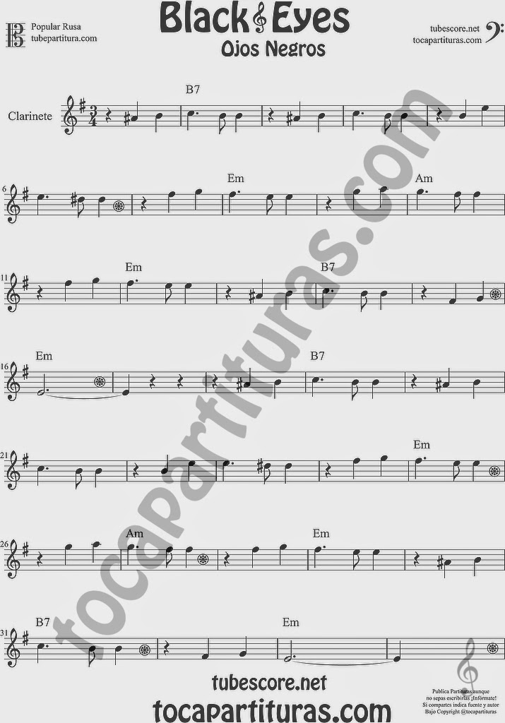 Ojos Negros Partitura de Clarinete Sheet Music for Clarinet Music Score Black Eyes Popular Rusa