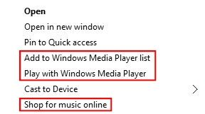 Windows Media Player Entries in Windows 10