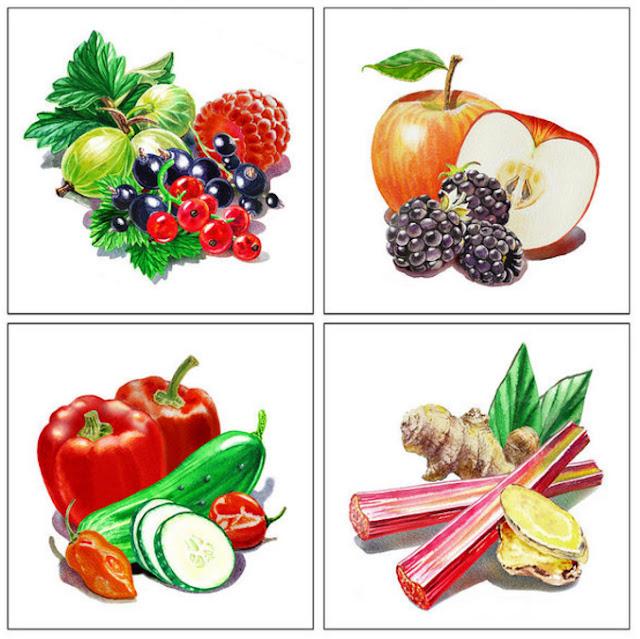 Bestselling watercolor painting of fruit and berries by Irina Sztukowski