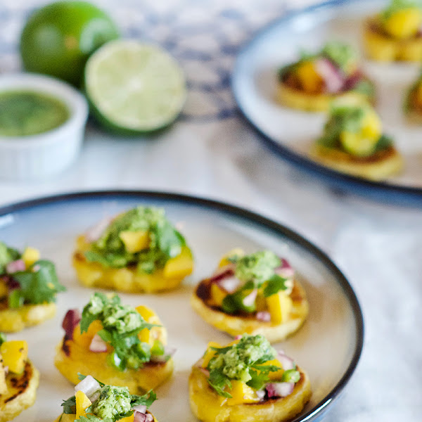 Plantain Tostones with Mango Salsa and Cilantro Chimichurri