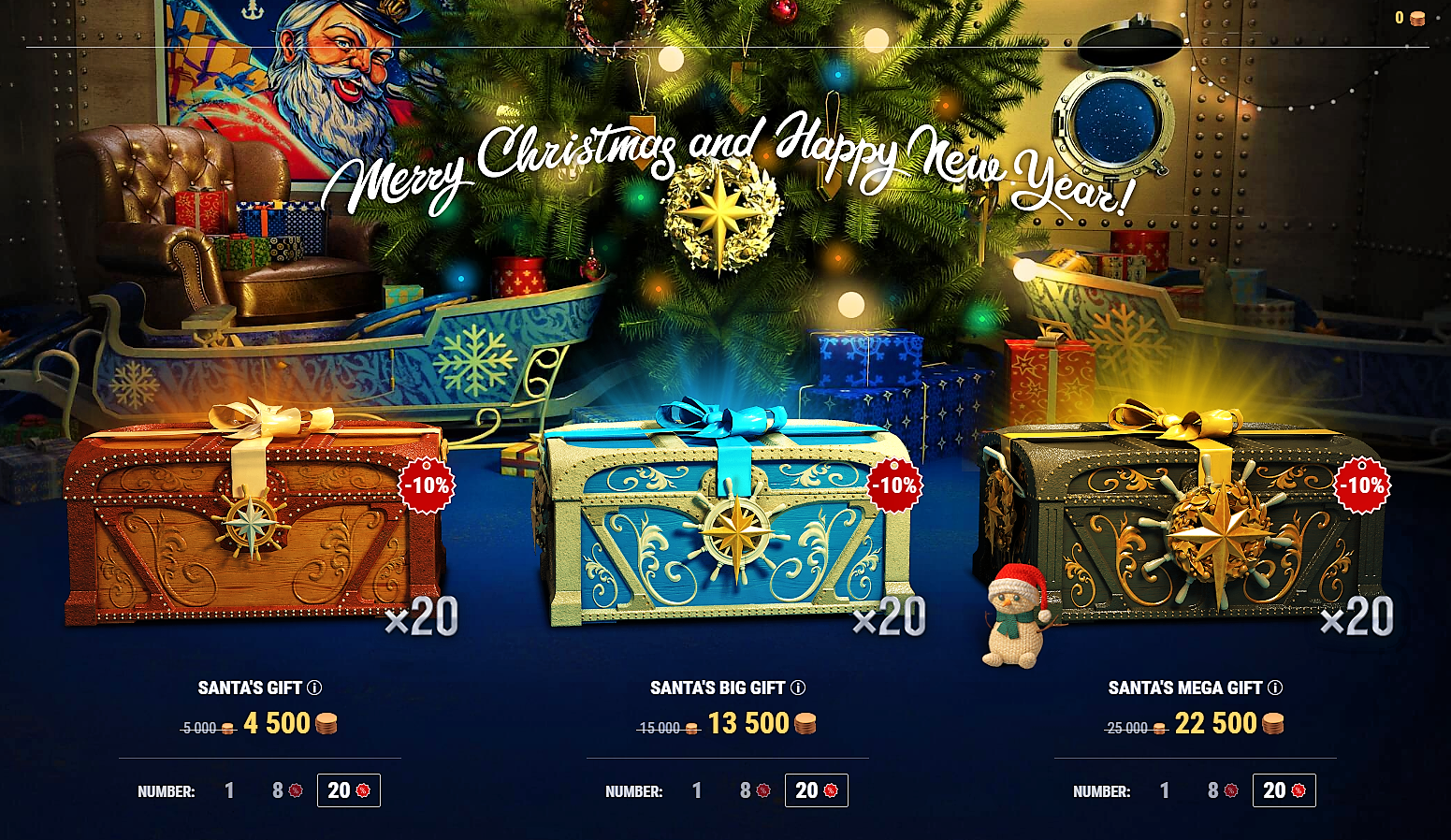 World Of Warships Christmas Containers 2020 Santa Containers 2020 plus 4 x Free