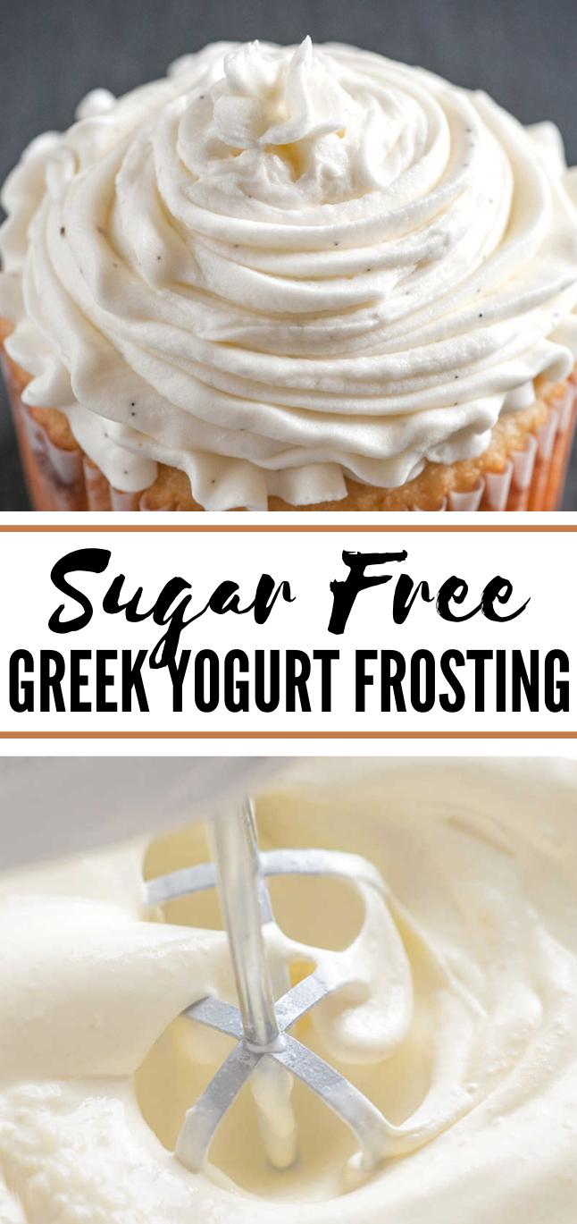 Sugar Free Greek Yogurt Frosting #desserts #sweets #frosting #yogurt #cake