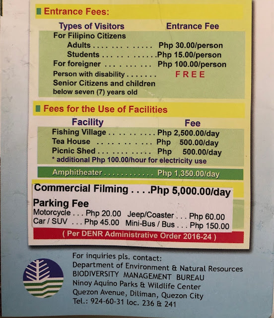 Ninoy Aquino Parks and Wildlife Center 2020 entrance, parking and other fees