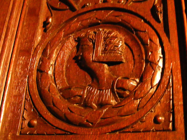 On a 16C provincial piece of furniture in the collection of the Chateau of Langeais. Photographed by Susan from Loire Valley Time Travel. https://tourtheloire.com