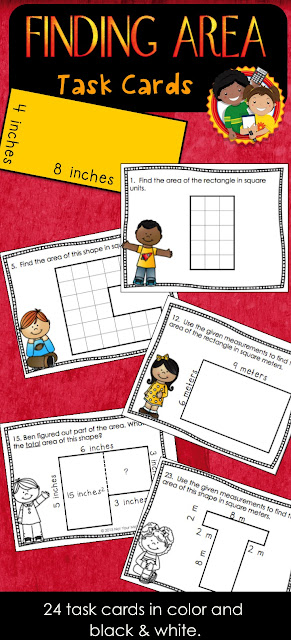 Use these Finding Area task cards in centers, for early finishers or to play SCOOT.