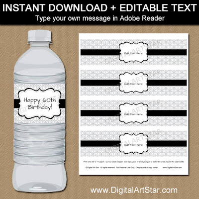 birthday water bottle labels - silver damask and black accents