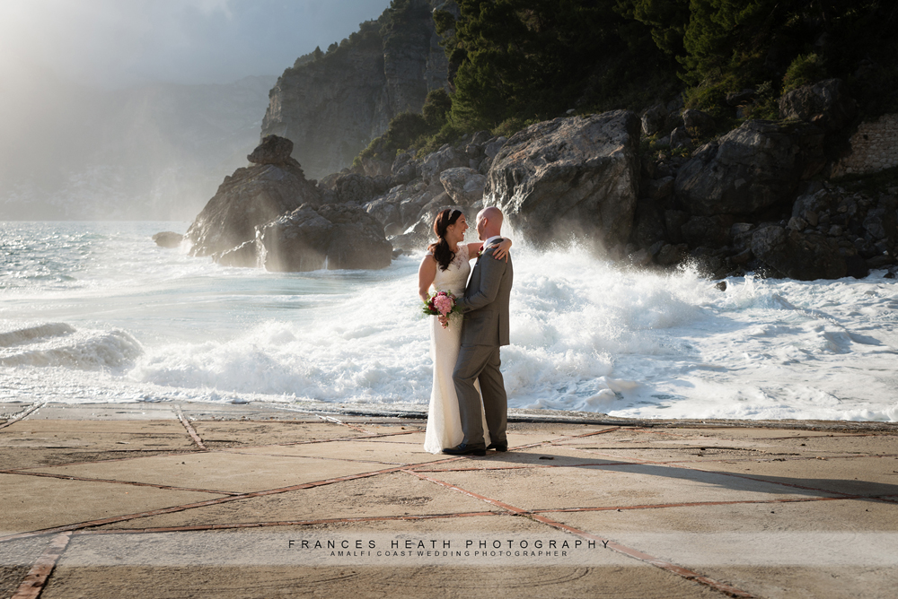 Bride and groom at Praiano beach