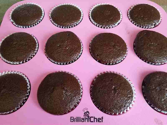 chocolate cupcakes in pink silicone pan