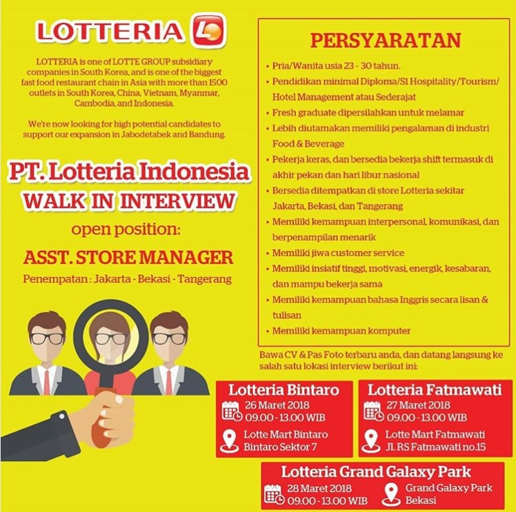 Walk In Interview PT. Lotteria Indonesia Sebagai Asst Store Manager Maret 2018