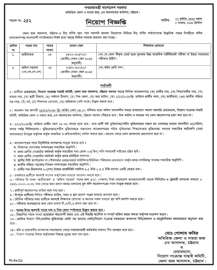 5th Court Office Chittagong Job Circular 2018 | Bangladesh Top Job