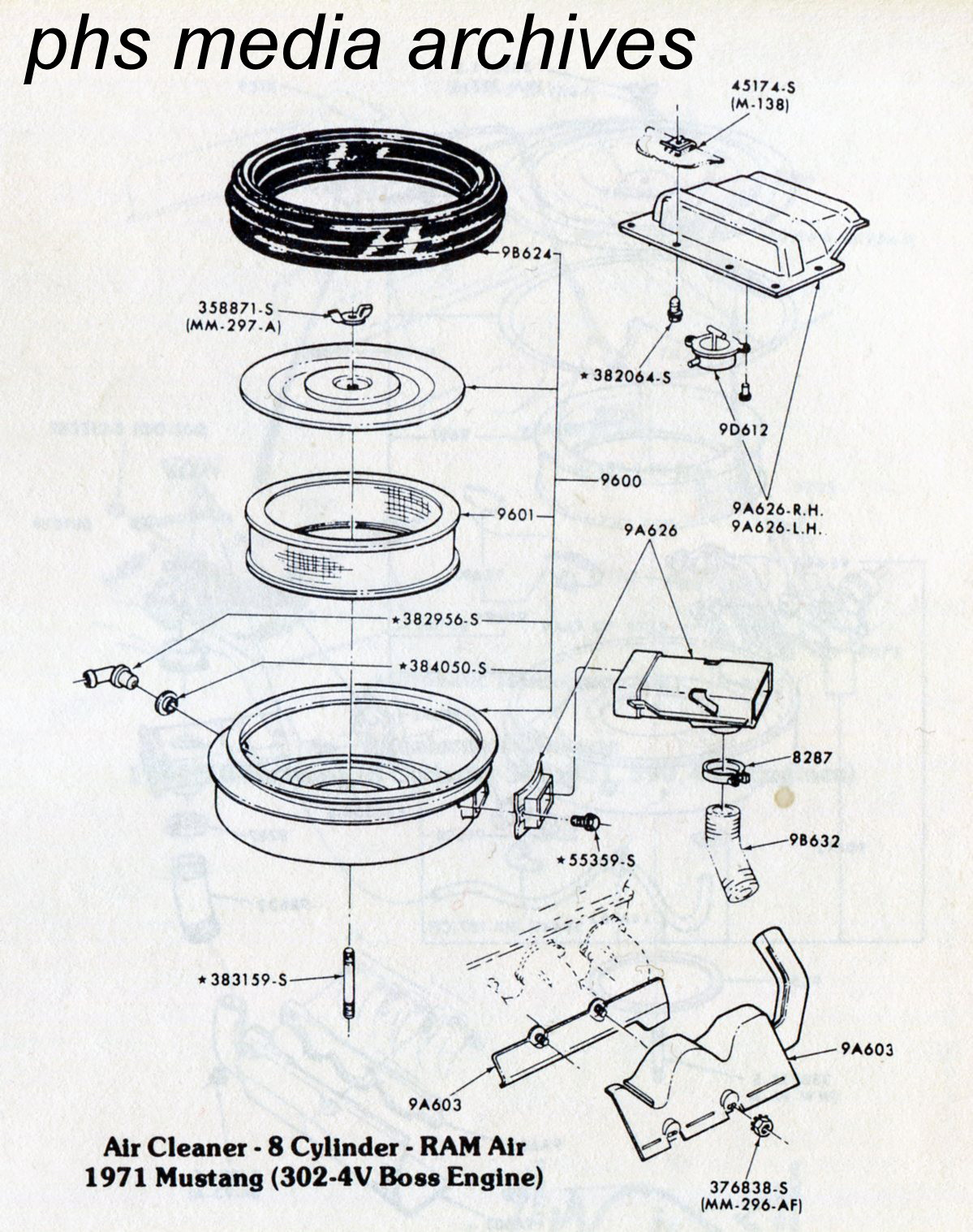 1968 302 4v Engine Pulley Diagram Electrical Wiring Tech Series Ford Mustang Air Cleaner Id Guide 1971 1973 Diesel