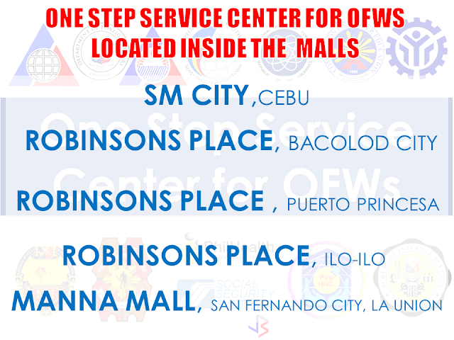 "Doing transactions in government offices such as Overseas Workers Welfare Administration (OWWA), Philippine Overseas Employment Administration (POEA), Department of Foreign Affairs (DFA) and other offices have never been comfortable like these days. Now you can do transactions with these government offices inside the malls. Free from scorching heat of the sun or getting wet while waiting for your turn, you may also avail of their services in a mall near your area. The OFWS can also do one stop transaction in some selected malls across the country. Some of the One Stop Service Center for OFWs (OSSCO) are situated inside the convenience of malls.    Here are the list of Malls where you can avail of the government services through their satellite offices:       RECOMMENDED: ON JAKATIA PAWA'S EXECUTION: ""WE DID EVERYTHING.."" -DFA  BELLO ASSURES DECISION ON MORATORIUM MAY COME OUT ANYTIME SOON  SEN. JOEL VILLANUEVA  SUPPORTS DEPLOYMENT BAN ON HSWS IN KUWAIT  AT LEAST 71 OFWS ON DEATH ROW ABROAD  DEPLOYMENT MORATORIUM, NOW! -OFW GROUPS  BE CAREFUL HOW YOU TREAT YOUR HSWS  PRESIDENT DUTERTE WILL VISIT UAE AND KSA, HERE'S WHY  MANPOWER AGENCIES AND RECRUITMENT COMPANIES TO BE HIT DIRECTLY BY HSW DEPLOYMENT MORATORIUM IN KUWAIT  UAE TO START IMPLEMENTING 5%VAT STARTING 2018  REMEMBER THIS 7 THINGS IF YOU ARE APPLYING FOR HOUSEKEEPING JOB IN JAPAN  KENYA , THE LEAST TOXIC COUNTRY IN THE WORLD; SAUDI ARABIA, MOST TOXIC   ""JUNIOR CITIZEN ""  BILL TO BENEFIT POOR FAMILIES"