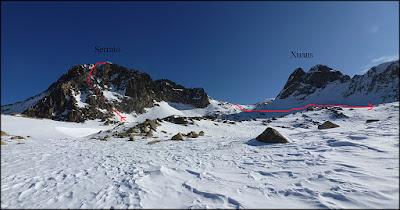 Corredor Noroeste y descenso bajo la peña Xuans