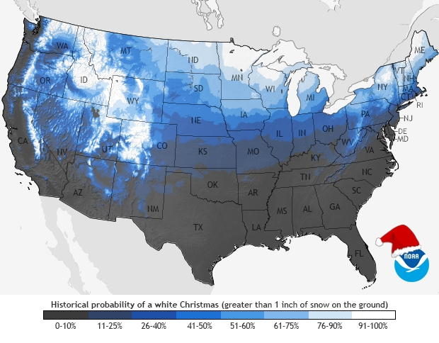 Probability of Having a White Christmas in the U.S.