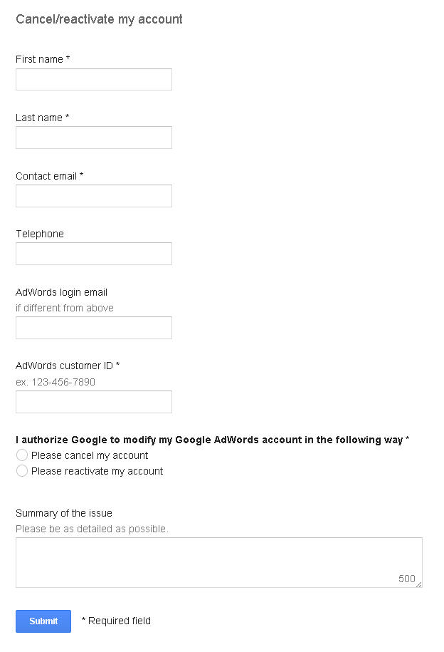 Adwords account activation cancellation form