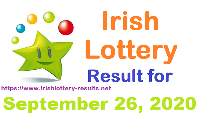 Irish Lottery Results for Saturday, September 26, 2020