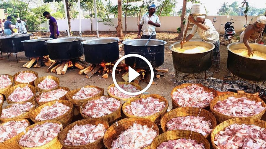 Cooking 500KG MUTTON BIRYANI For 3000 Peoples | WORLD FAMOUS AMBUR MUTTON BIRYANI