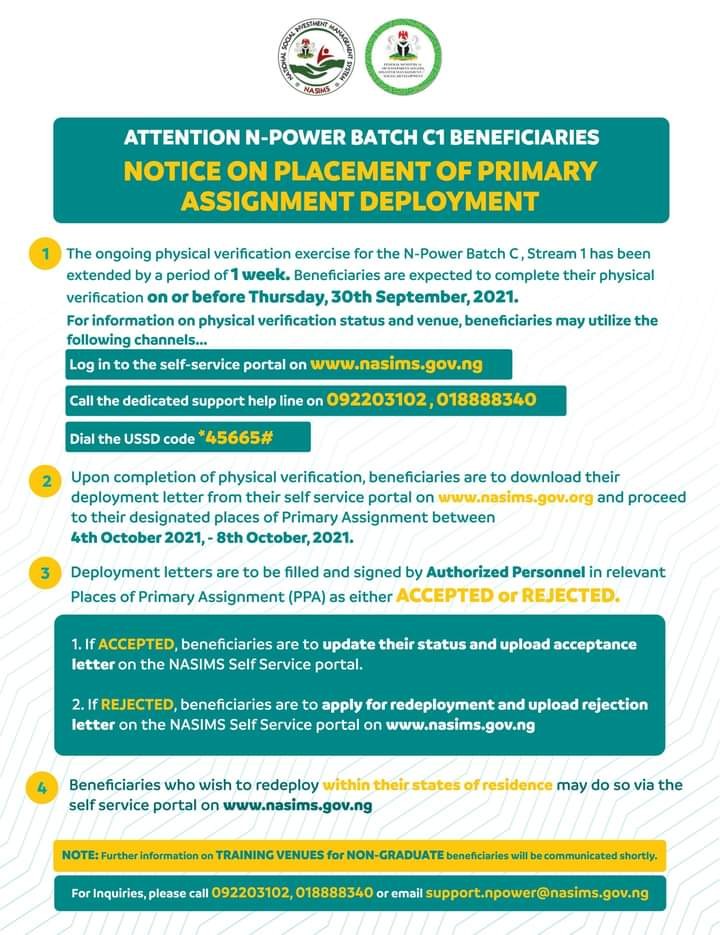 Attention N-power Batch C1 Beneficiaries: Notice On Placement Of Primary Assignment Deployment