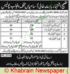 Punjab Police Department Lahore Jobs for sanitary Worker 2021