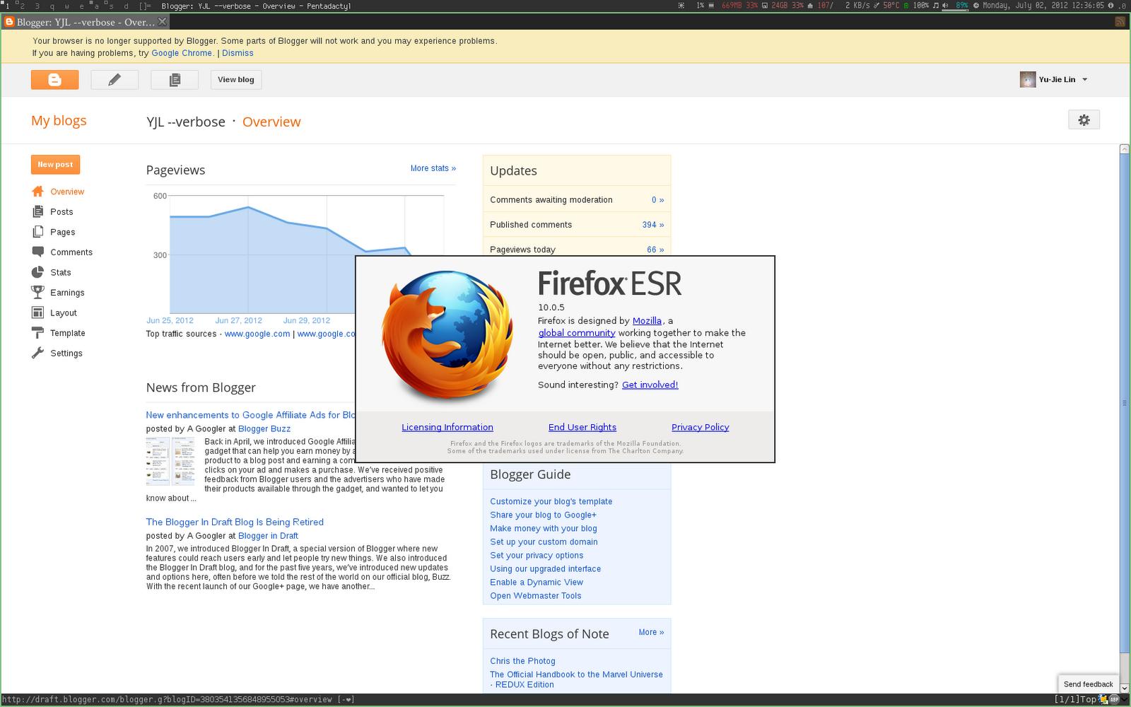 YJL: Blogger and Firefox ESR
